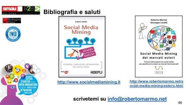 Bibliografia e saluti http://www.socialmediamining.it http://www.robertomarmo.net/s ocial-media-mining-estero.html scrivet...