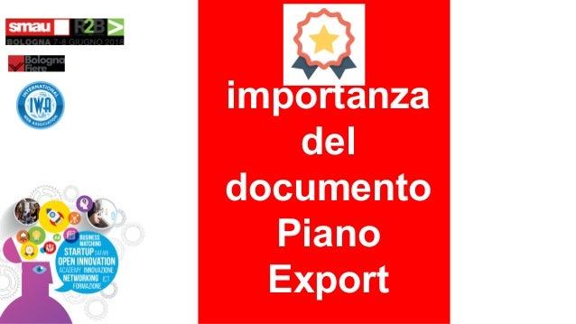 importanza del documento Piano Export