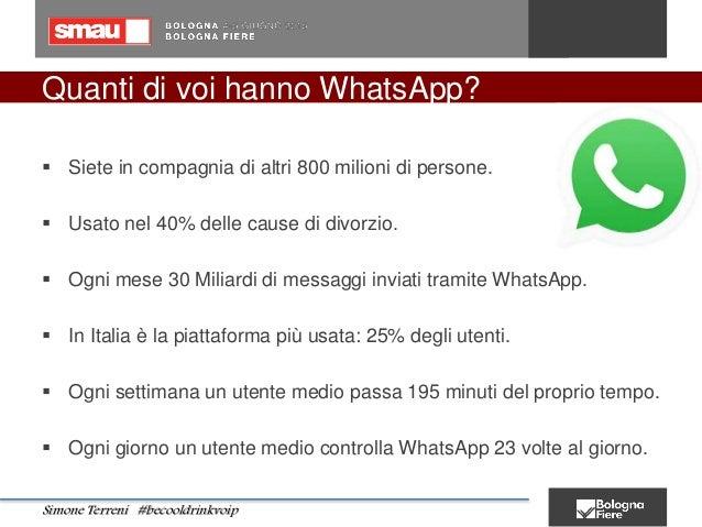 Quanti di voi hanno WhatsApp?  Siete in compagnia di altri 800 milioni di persone.  Usato nel 40% delle cause di divorzi...