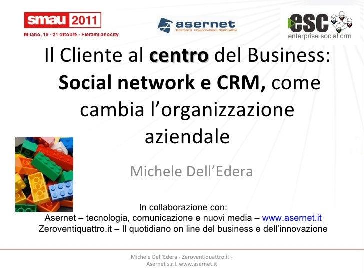 Il Cliente al  centro  del Business:   Social network e CRM,  come cambia l'organizzazione aziendale Michele Dell'Edera In...