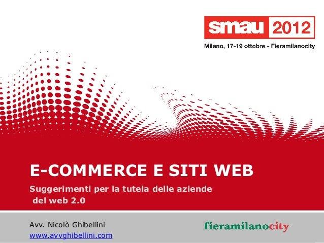 E-COMMERCE E SITI WEB   Suggerimenti per la tutela delle aziende   del web 2.0    Avv. Nicolò Ghibellini                  ...