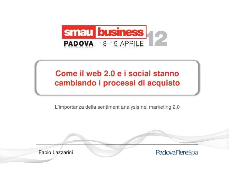 Come il web 2.0 e i social stanno       cambiando i processi di acquisto       L'importanza della sentiment analysis nel m...