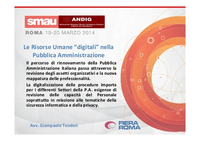 """Le Risorse Umane """"digitali"""" nella Pubblica Amministrazione Il percorso di rinnovamento della Pubblica Amministrazione ital..."""