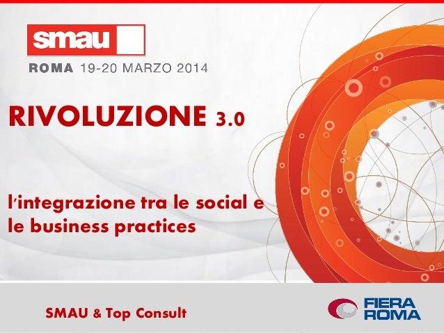 Titolo della presentazioneSMAU & Top Consult l'integrazione tra le social e le business practices RIVOLUZIONE 3.0