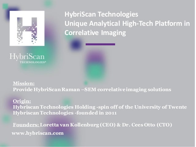 HybriScan Technologies Unique Analytical High-Tech Platform in Correlative Imaging Mission: Provide HybriScan Raman –SEM c...