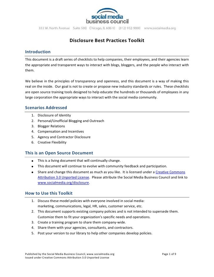 Disclosure Best Practices Toolkit<br />Introduction<br />This document is a draft series of checklists to help companies, ...