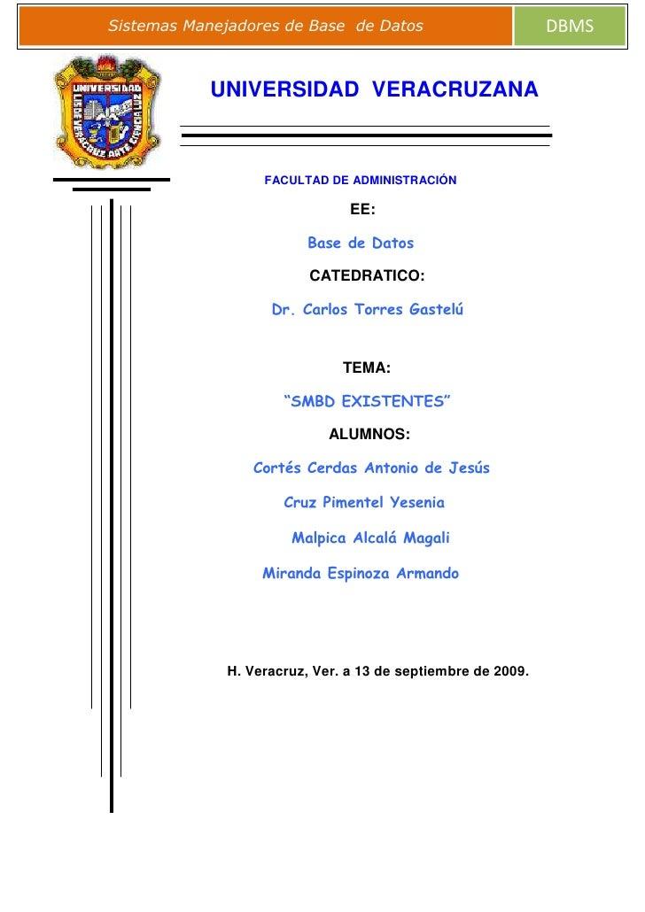 -45466011430<br />UNIVERSIDAD  VERACRUZANA<br />FACULTAD DE ADMINISTRACIÓN <br />                   EE:<br />Base de Datos...
