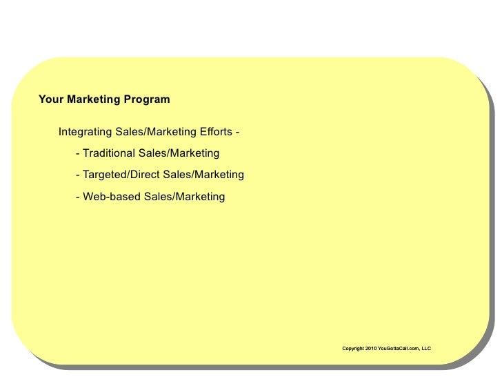 Your Marketing Program     Integrating Sales/Marketing Efforts -       - Traditional Sales/Marketing       - Targeted/Dire...