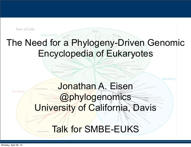 The Need for a Phylogeny-Driven GenomicEncyclopedia of EukaryotesJonathan A. Eisen@phylogenomicsUniversity of California, ...