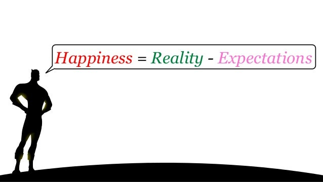 Happiness = Reality - Expectations