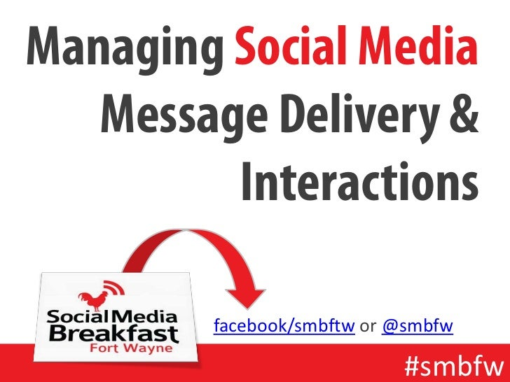 Managing Social Media Message Delivery & Interactions<br />facebook/smbftw or @smbfw<br />#smbfw<br />