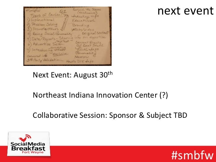 next eventNext Event: August 30thNortheast Indiana Innovation Center (?)Collaborative Session: Sponsor & Subject TBD      ...