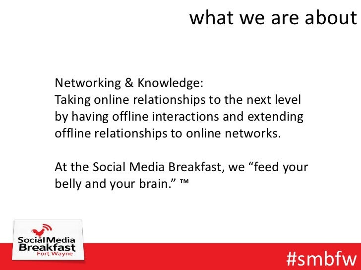 what we are aboutNetworking & Knowledge:Taking online relationships to the next levelby having offline interactions and ex...