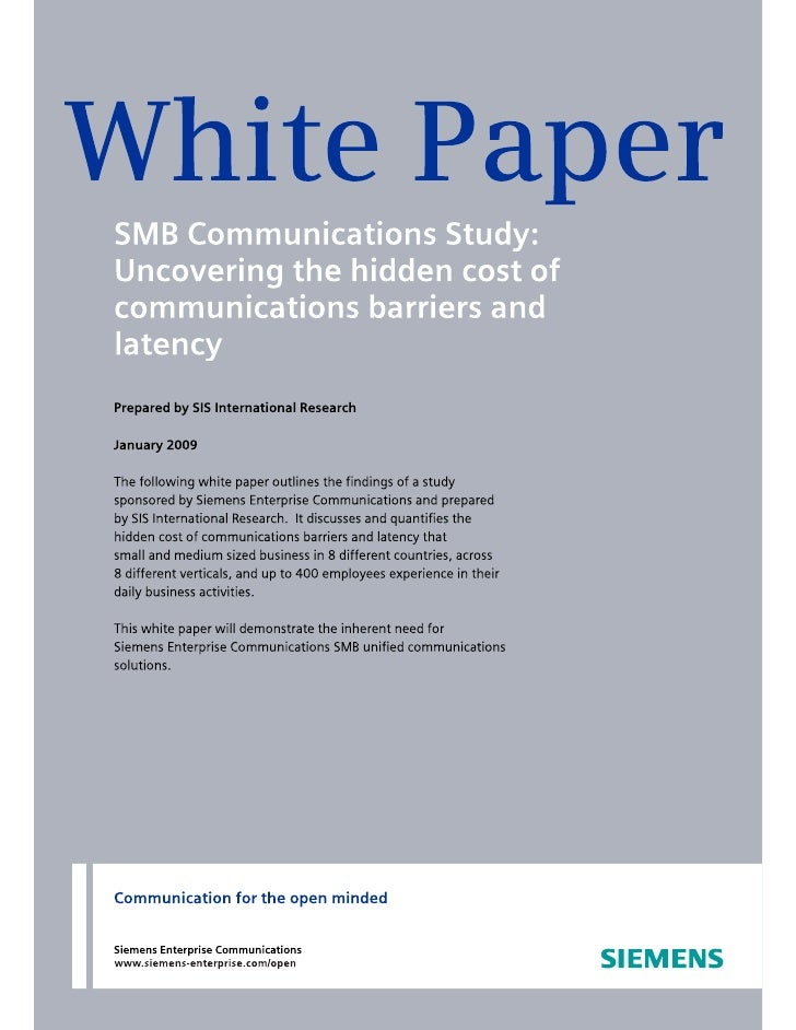 SIS Public White Paper on Hidden Communication Costs and Unified Communications