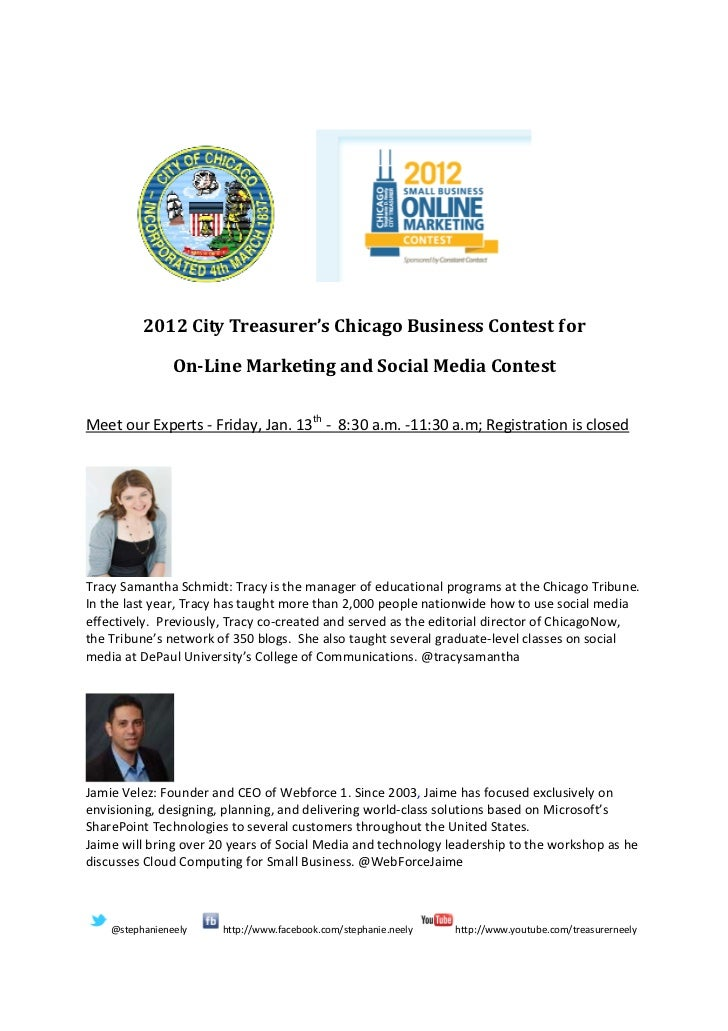 2012 City Treasurer's Chicago Business Contest for                On-Line Marketing and Social Media ContestMeet our Exper...