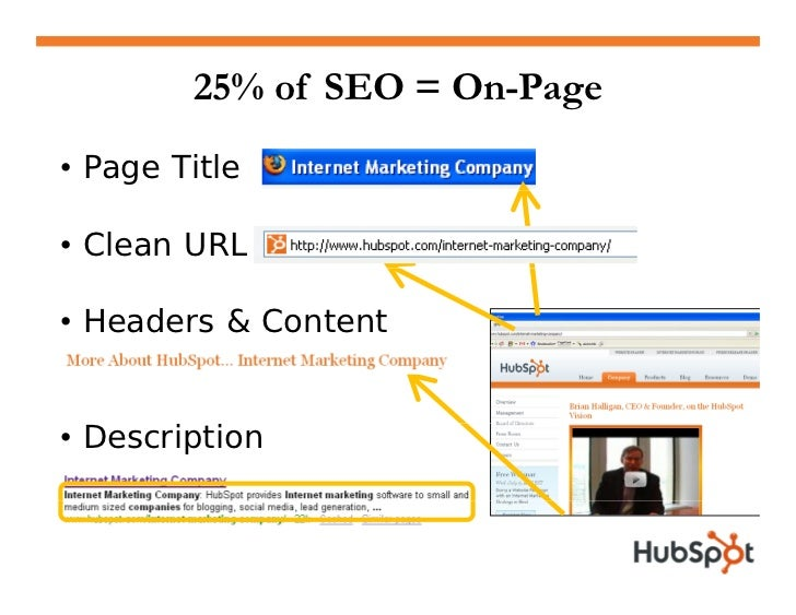 """75% of SEO = Off-Page • Recommendations from friends  1.  1 """"I know HubSpot""""  2. """"HubSpot is a marketing expert""""  3.  3 Yo..."""