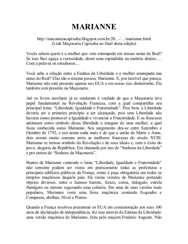 MARIANNE http://maconariacapixaba.blogspot.com.br/20…/…/marianne.html (Link Maçonaria Capixaba no final desta edição) Você...