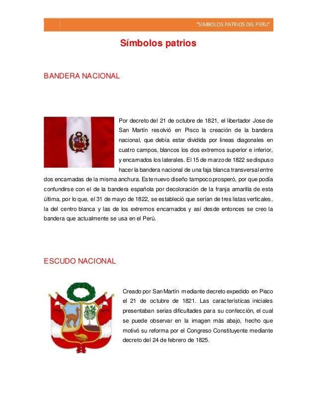 """""""SIMBOLOS PATRIOSDEL PERU"""" Símbolos patrios BANDERA NACIONAL Por decreto del 21 de octubre de 1821, el libertador Jose de ..."""
