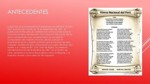 ANTECEDENTES Luego de ser proclamada la Independencia del Perú, El Gral. Don José de San Martín, el 18 de Setiembre de 182...