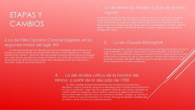 ETAPAS Y CAMBIOS 1. La de Bernardo Alcedo y José de la Torre Ugarte Se remonta a agosto de 1821, cuando San Martín convoca...