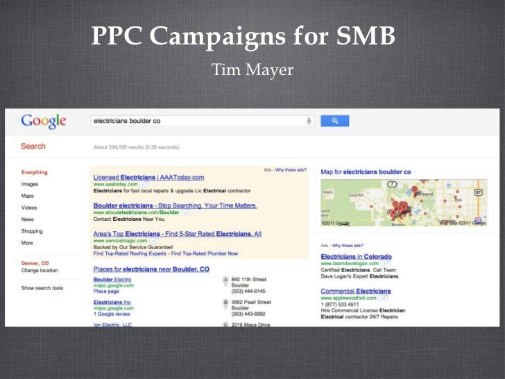 PPC Campaigns for SMB        Tim Mayer