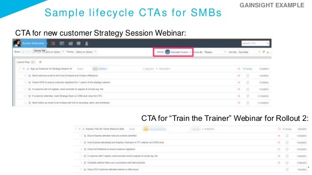 """Sample lifecycle CTAs for SMBs CTA for new customer Strategy Session Webinar: CTA for """"Train the Trainer"""" Webinar for Roll..."""