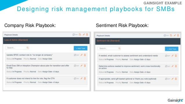 Designing risk management playbooks for SMBs Company Risk Playbook: Sentiment Risk Playbook: GAINSIGHT EXAMPLE