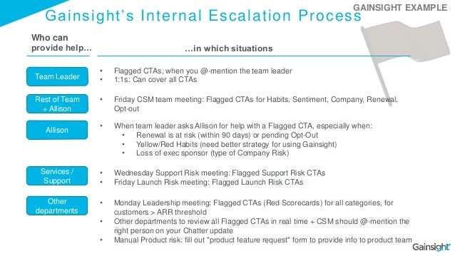 Gainsight's Internal Escalation Process Team Leader Rest of Team + Allison Other departments • Flagged CTAs, when you @-me...