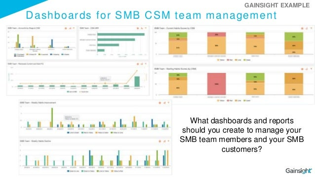 Dashboards for SMB CSM team management What dashboards and reports should you create to manage your SMB team members and y...