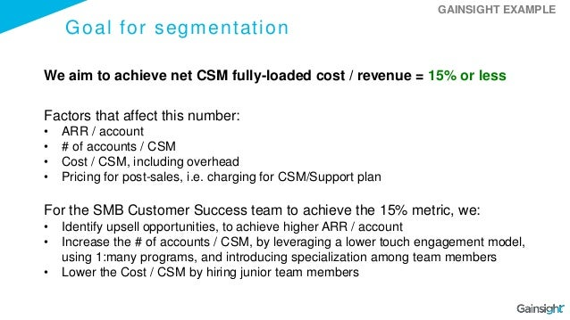 Goal for segmentation We aim to achieve net CSM fully-loaded cost / revenue = 15% or less Factors that affect this number:...