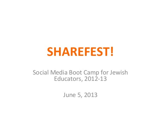 SHAREFEST!Social Media Boot Camp for JewishEducators, 2012-13June 5, 2013