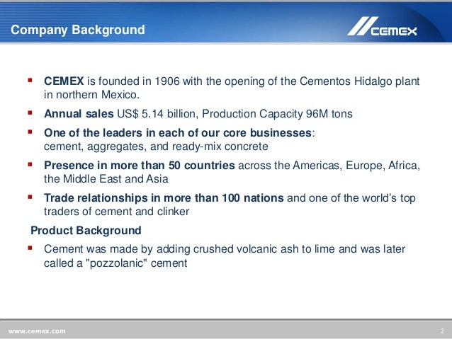 value chain analysis cemex He also said that cemex had finished its market analysis,  altogether the value of chinese imported cement came to us$132m in 2017.