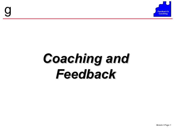 Coaching and Feedback