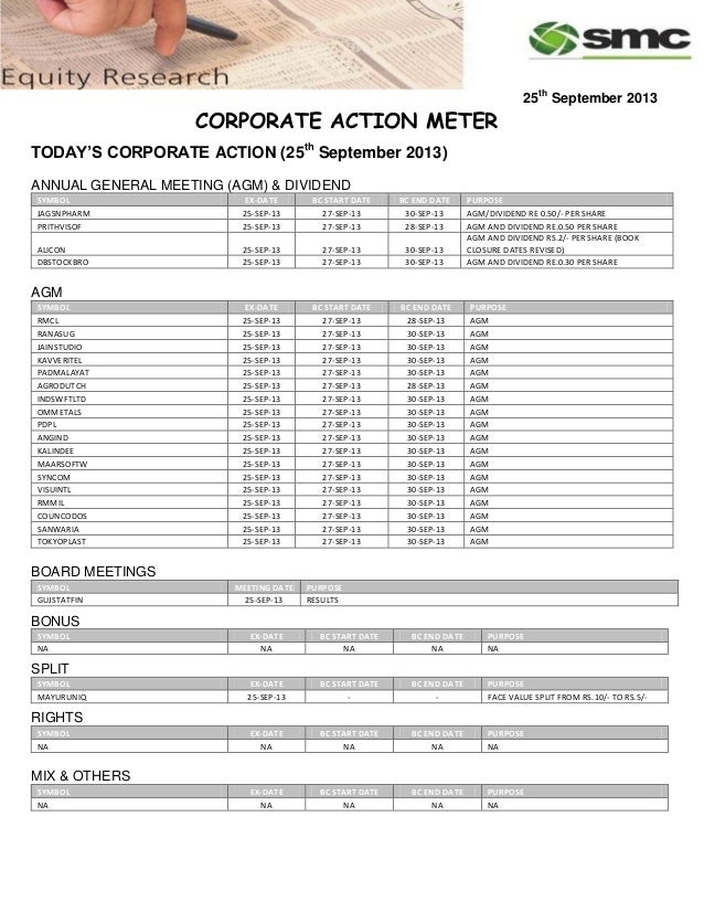 25th September 2013 CORPORATE ACTION METER TODAY'S CORPORATE ACTION (25th September 2013) ANNUAL GENERAL MEETING (AGM) & D...