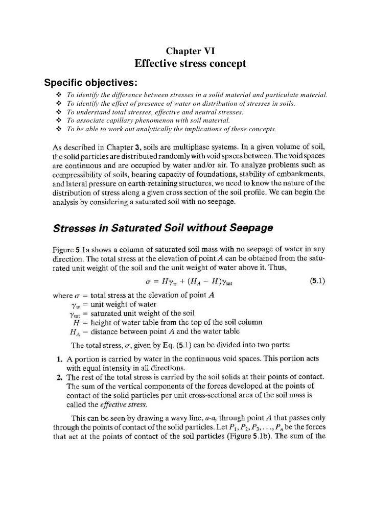 Chapter VI                            Effective stress concept Specific objectives:     To identify the difference between...