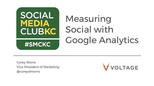Measuring Social with Google Analytics Corey Morris Vice President of Marketing @coreydmorris