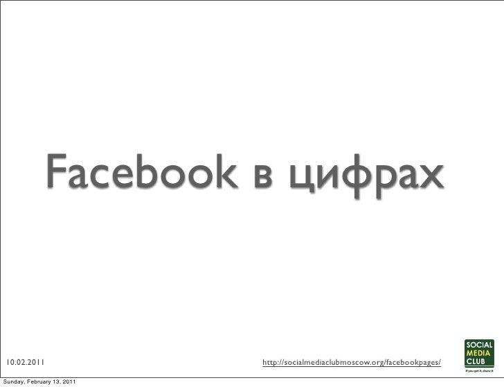 Facebook в цифрах10.02.2011        http://socialmediaclubmoscow.org/facebookpages/
