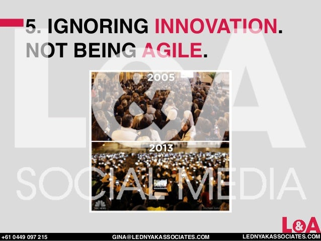 5. IGNORING INNOVATION.        NOT BEING AGILE.+61 0449 097 215   GINA@LEDNYAKASSOCIATES.COM   LEDNYAKASSOCIATES.COM