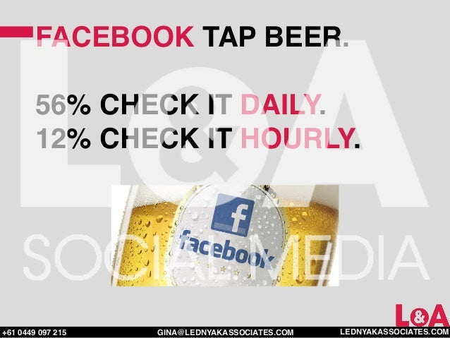 FACEBOOK TAP BEER.        56% CHECK IT DAILY.        12% CHECK IT HOURLY.+61 0449 097 215   GINA@LEDNYAKASSOCIATES.COM   L...