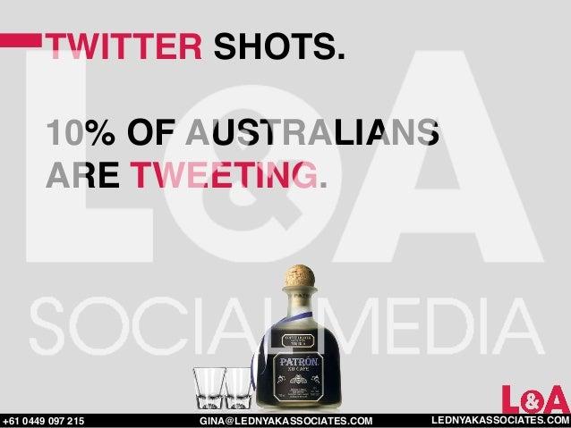 TWITTER SHOTS.        10% OF AUSTRALIANS        ARE TWEETING.+61 0449 097 215   GINA@LEDNYAKASSOCIATES.COM   LEDNYAKASSOCI...