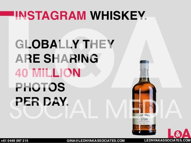 INSTAGRAM WHISKEY.        GLOBALLY THEY        ARE SHARING        40 MILLION        PHOTOS        PER DAY.+61 0449 097 215...