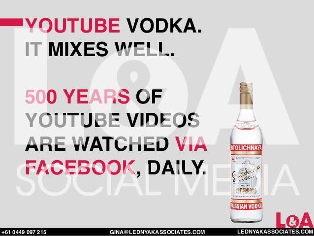 YOUTUBE VODKA.        IT MIXES WELL.        500 YEARS OF        YOUTUBE VIDEOS        ARE WATCHED VIA        FACEBOOK, DAI...