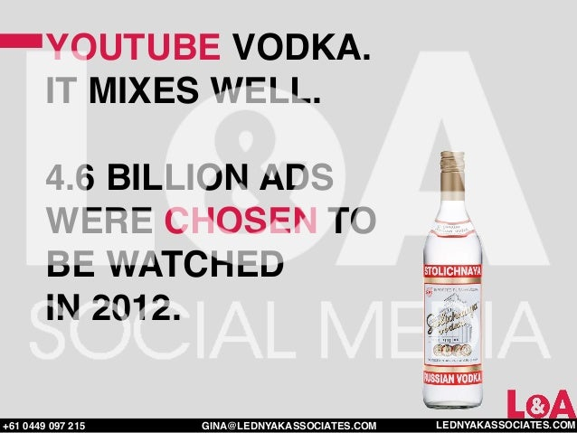 YOUTUBE VODKA.        IT MIXES WELL.        4.6 BILLION ADS        WERE CHOSEN TO        BE WATCHED        IN 2012.+61 044...