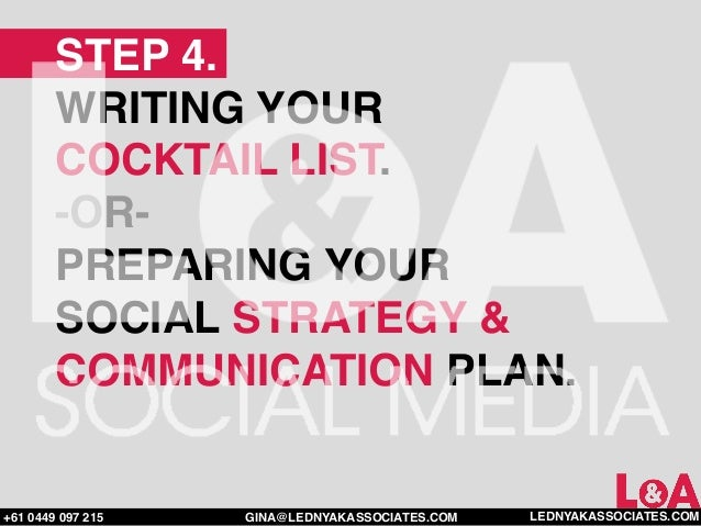 STEP 4.        WRITING YOUR        COCKTAIL LIST.        -OR-        PREPARING YOUR        SOCIAL STRATEGY &        COMMUN...