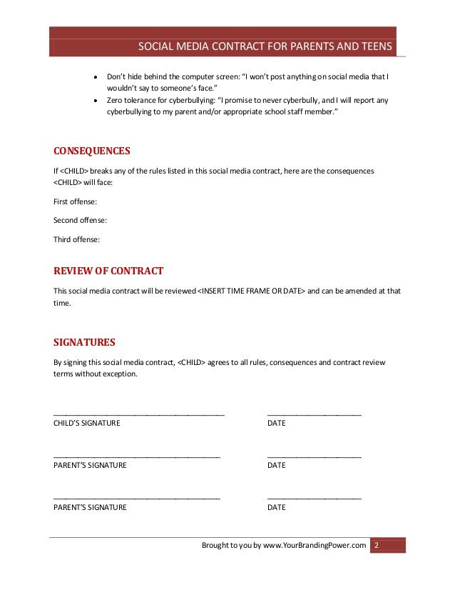 Social media contract for parents and teens – Social Contract Template