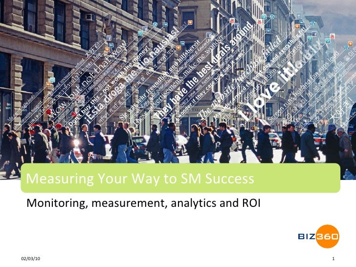 Monitoring, measurement, analytics and ROI Measuring Your Way to SM Success 02/10/10