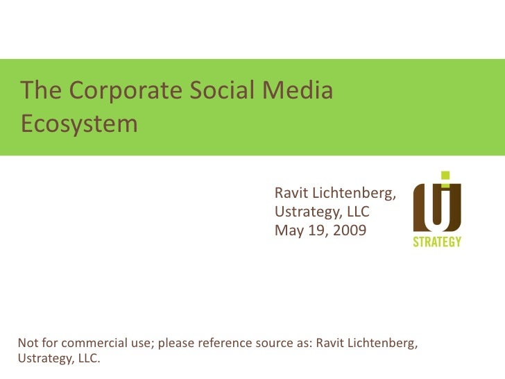 Focus on relationships, not technologies The Corporate Social Media Ecosystem                                             ...