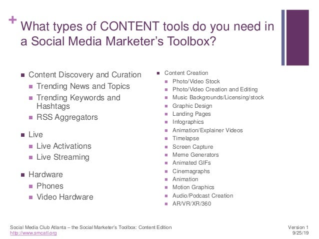 SMCATL's Social Marketer's Toolbox: Content Edition Slide 2