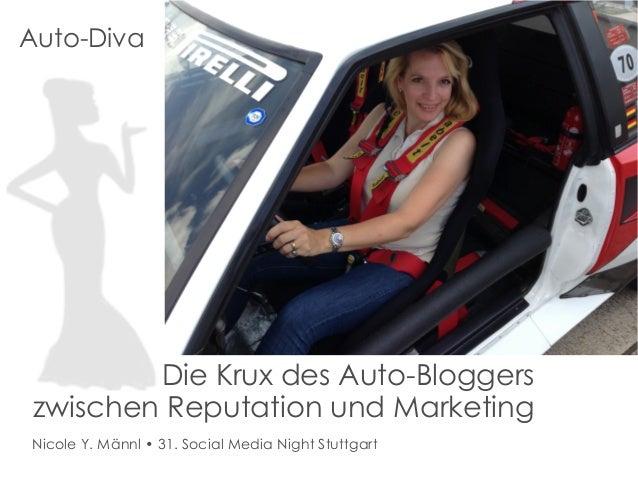 Auto-Diva  Die Krux des Auto-Bloggers zwischen Reputation und Marketing Nicole Y. Männl • 31. Social Media Night Stuttgart