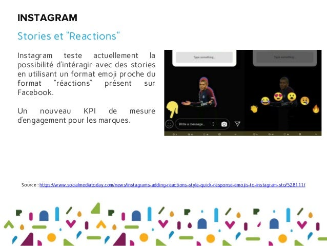"""Instagram teste actuellement la possibilité d'intéragir avec des stories en utilisant un format emoji proche du format """"ré..."""
